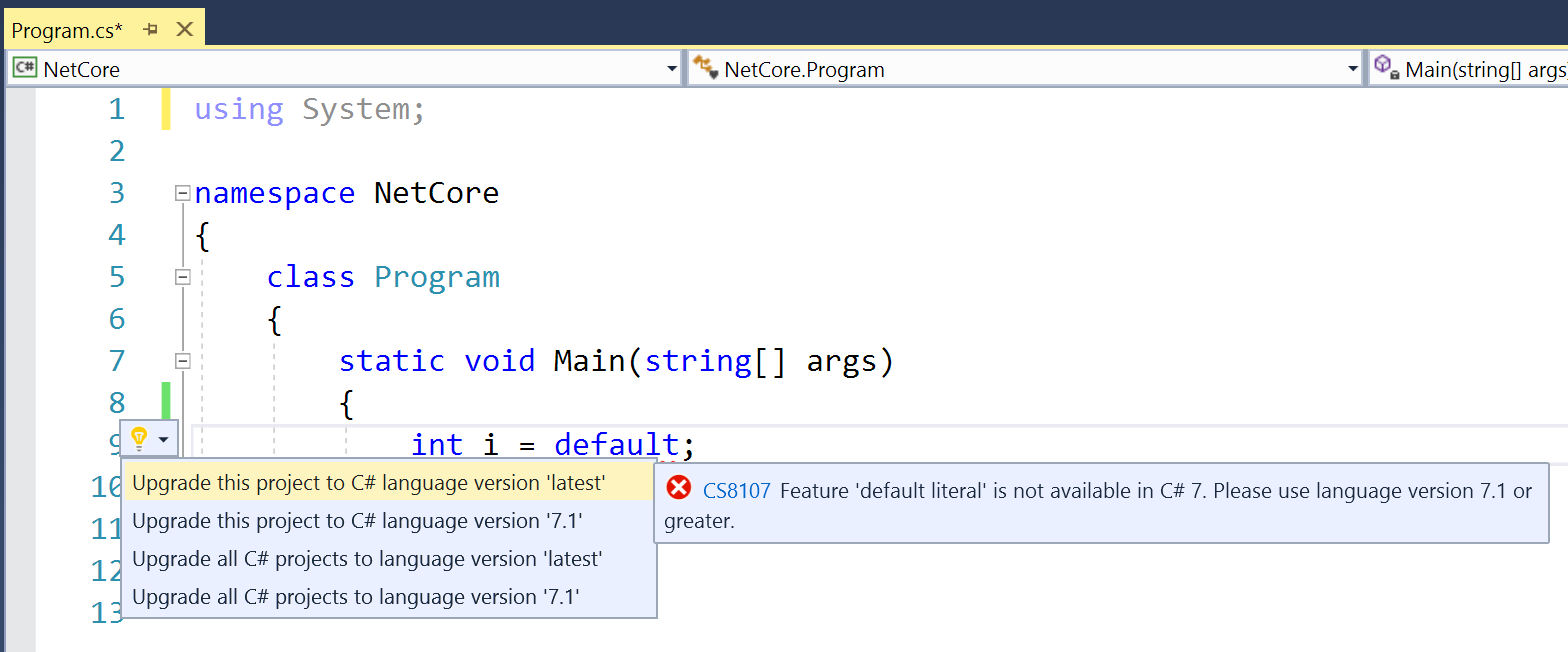Enable C# 7.1 through lightbulb code fix