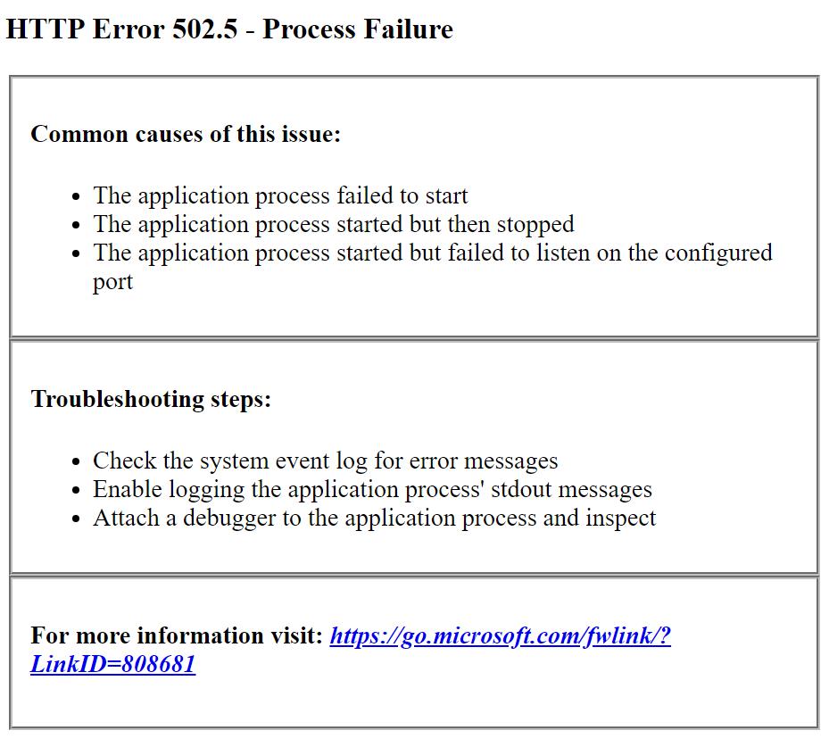 IIS HTTP Error 502.5 in ASP.NET Core