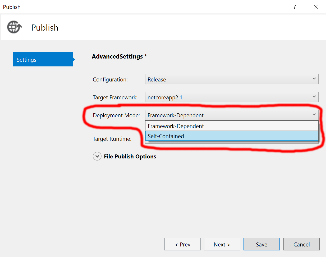 Deployment Mode Options in Visual Studio Publish Settings